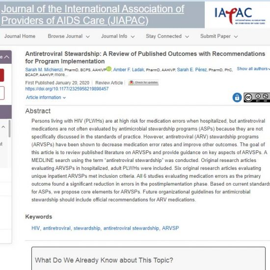 Antiretroviral Stewardship: A Review of Published Outcomes with Recommendations for Program Implementation