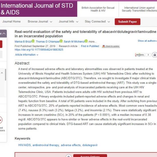 Real-world evaluation of the safety and tolerability of abacavir/dolutegravir/lamivudine in an incarcerated population