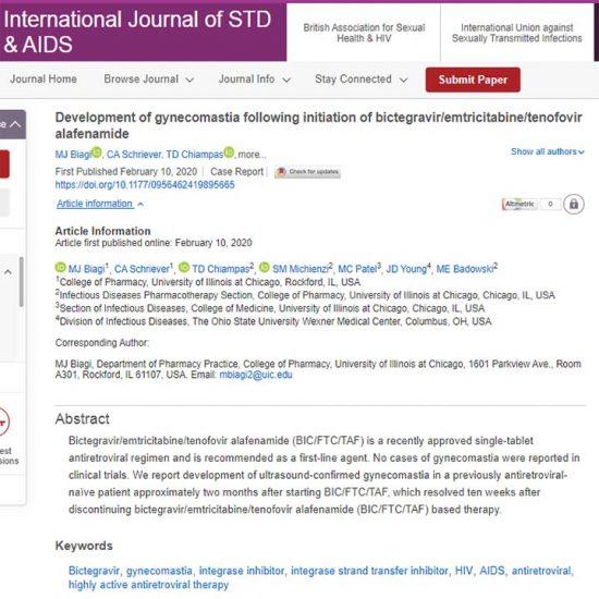 Development of gynecomastia following initiation of bictegravir/emtricitabine/tenofovir alafenamide