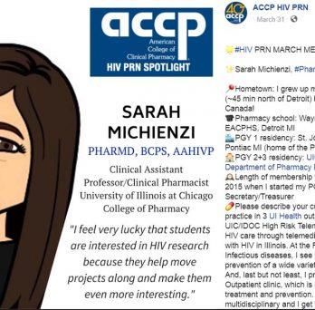 ACCP HIV PRN March Member Spotlight - Dr. Sarah Michienzi