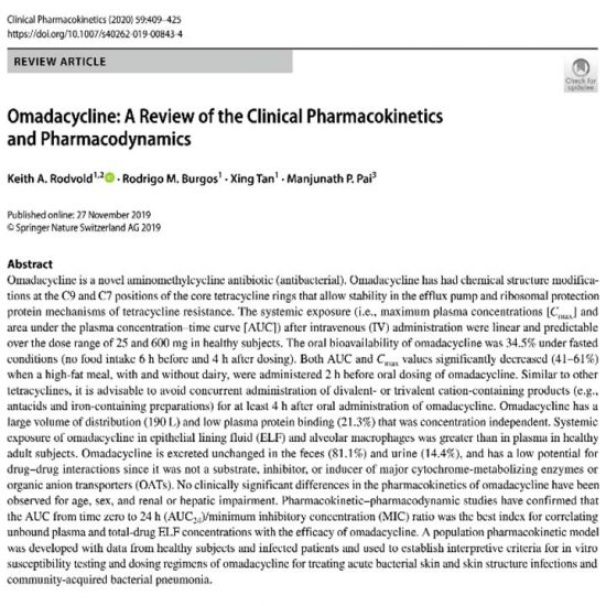 Omadacycline: A Review of the Clinical Pharmacokinetics and Pharmacodynamics