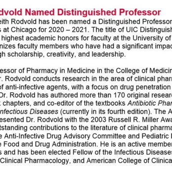 Dr. Keith A. Rodvold Named Distinguished Professor