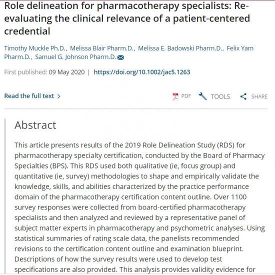 Role delineation for pharmacotherapy specialists: Re-evaluating the clinical relevance of a patient-centered credential