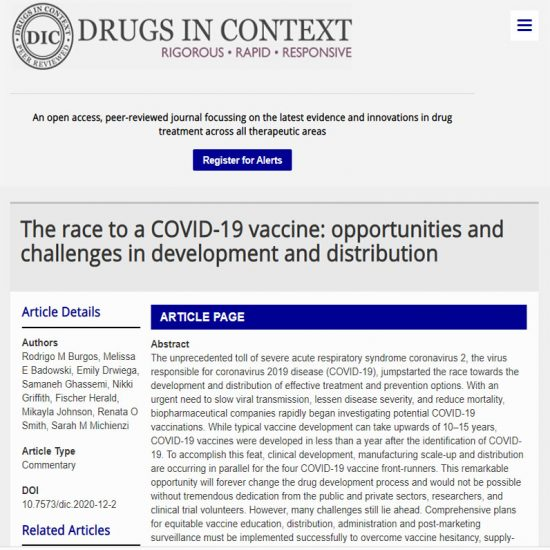 The race to a COVID-19 vaccine: opportunities and challenges in development and distribution