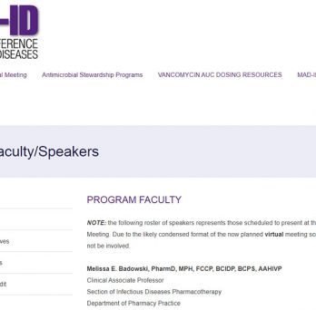 Dr. Melissa Badowski presented a Plenary Session at the Making a Difference in Infectious Diseases (MAD-ID) annual meeting