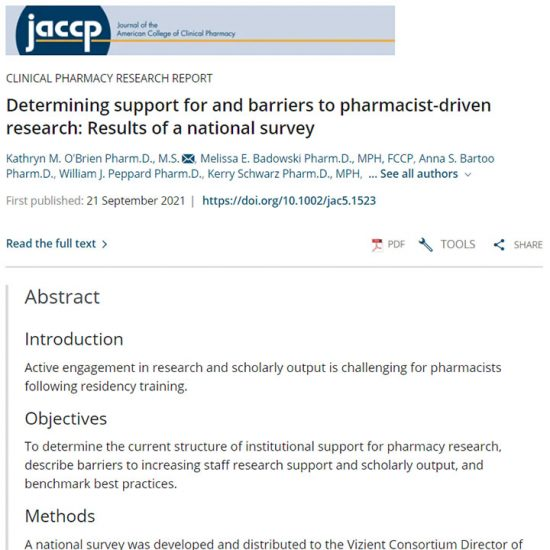 Determining support for and barriers to pharmacist-driven research: Results of a national survey