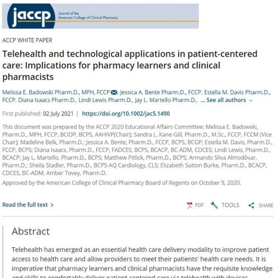 Telehealth and technological applications in patient-centered care: Implications for pharmacy learners and clinical pharmacists